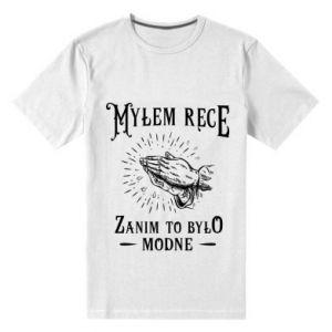 Męska premium koszulka Mylem rece zanim to bylo modne