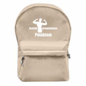 """Plecak z przednią kieszenią Nadruk z napisem """"Jestem prawdziwym Polakiem"""""""