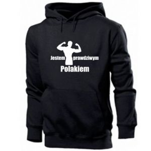 """Men's hoodie Print with an inscription """"I am a real Pole"""""""
