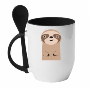 Mug with ceramic spoon Naive sloth - PrintSalon