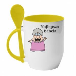 Kubek z ceramiczną łyżeczką Najlepsza babcia - PrintSalon