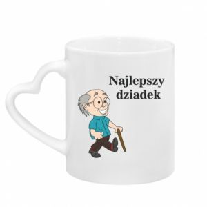 Mug with heart shaped handle Najlepszy dziadek