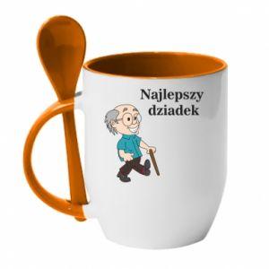 Kubek z ceramiczną łyżeczką Najlepszy dziadek - PrintSalon