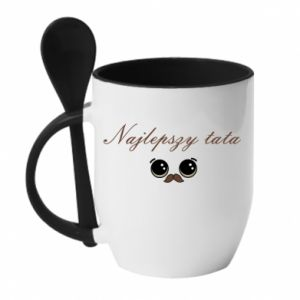 Mug with ceramic spoon Best dad with a mustache