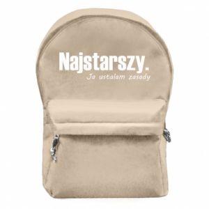 Plecak z przednią kieszenią Najstarszy. Ja ustalam zasady