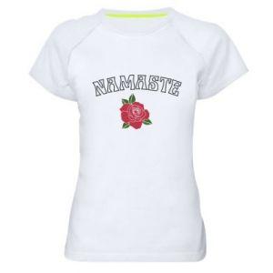 Women's sports t-shirt Namaste rose