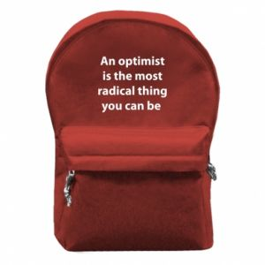 Backpack with front pocket Inscription: An optimist