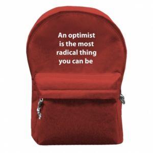 Plecak z przednią kieszenią Napis: An optimist