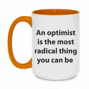 Two-toned mug 450ml Inscription: An optimist