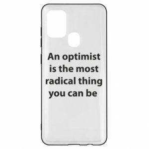 Etui na Samsung A21s Napis: An optimist