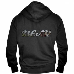 "Męska bluza z kapturem na zamek Napis ""Bear"" - PrintSalon"