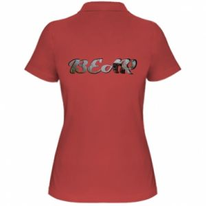 "Damska koszulka polo Napis ""Bear"" - PrintSalon"