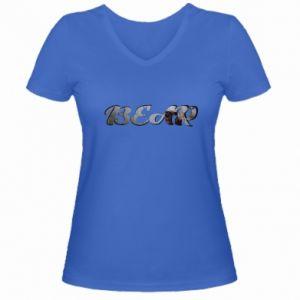 """Women's V-neck t-shirt Inscription """"Bear"""""""