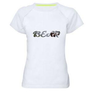"Damska koszulka sportowa Napis ""Bear"" - PrintSalon"