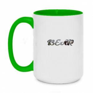 "Two-toned mug 450ml Inscription ""Bear"""