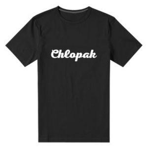 Męska premium koszulka Napis: Chłopak