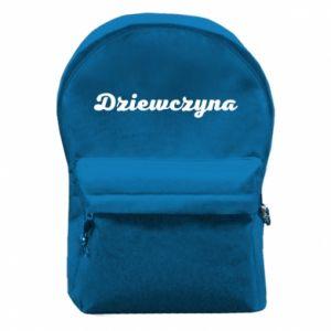 Plecak z przednią kieszenią Napis: Dziewczyna
