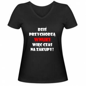 Damska koszulka V-neck Napis: Dziś przychodzą wnuki więc czas na zakupy