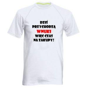 Męska koszulka sportowa Napis: Dziś przychodzą wnuki więc czas na zakupy