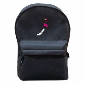 Plecak z przednią kieszenią Napis: Flamingo