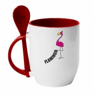 Kubek z ceramiczną łyżeczką Napis: Flamingo