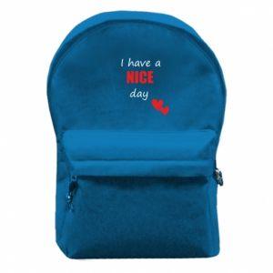 Plecak z przednią kieszenią Napis: I have a nice day