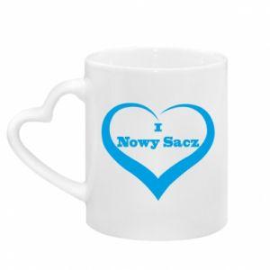 Mug with heart shaped handle Inscription - I love Nowy Sacz