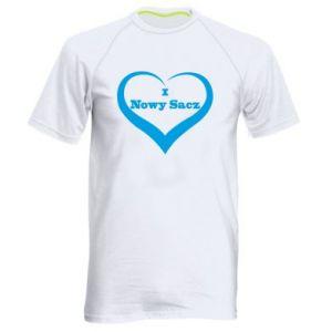 Męska koszulka sportowa Napis - I love Nowy Sacz