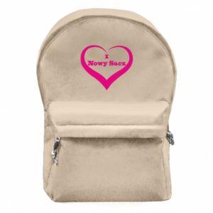 Plecak z przednią kieszenią Napis - I love Nowy Sacz