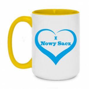Kubek dwukolorowy 450ml Napis - I love Nowy Sacz