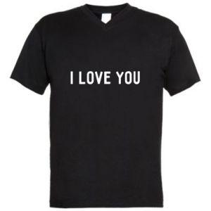 Koszulka V-neck męska Napis: I love you