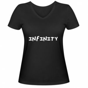 Damska koszulka V-neck Napis: Infinity