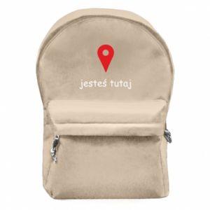 Plecak z przednią kieszenią Napis - Jesteś tutaj