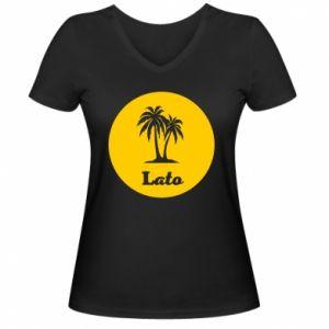 Damska koszulka V-neck Napis - Lato