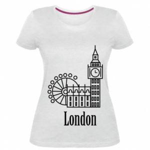 Damska premium koszulka Napis: London - PrintSalon