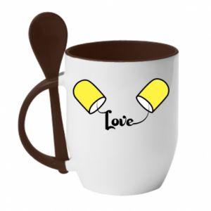 Kubek z ceramiczną łyżeczką Napis - Love