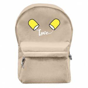 Plecak z przednią kieszenią Napis - Love