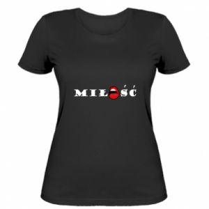 Koszulka damska Napis: Miłość i usta