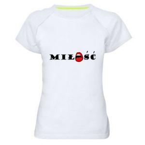 Koszulka sportowa damska Napis: Miłość i usta