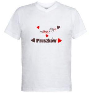 Męska koszulka V-neck Napis - Moja miłość to Pruszków