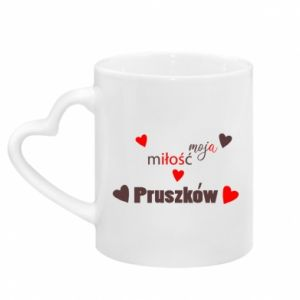 Mug with heart shaped handle Inscription - My love is Pruszkow