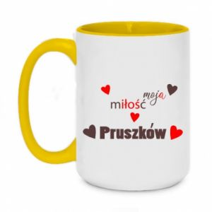 Two-toned mug 450ml Inscription - My love is Pruszkow
