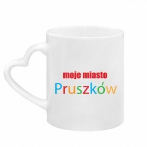Kubek z uchwytem w kształcie serca Napis: Moje miasto Pruszków