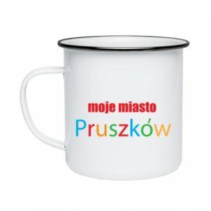 Enameled mug Inscription: My city Pruszkow