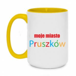 Two-toned mug 450ml Inscription: My city Pruszkow