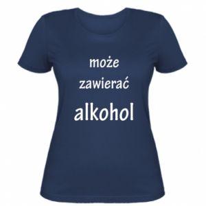 Damska koszulka Napis - Może zawierać alkohol