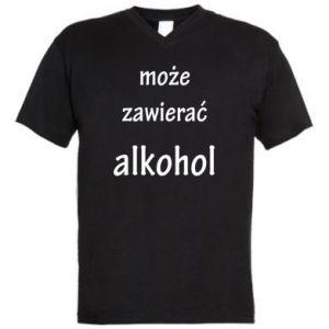 Męska koszulka V-neck Napis - Może zawierać alkohol