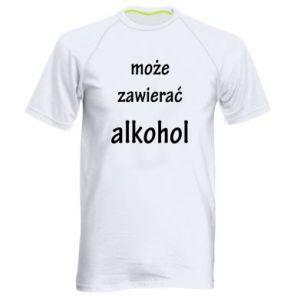 Męska koszulka sportowa Napis - Może zawierać alkohol