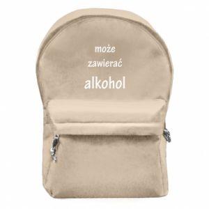 Plecak z przednią kieszenią Napis - Może zawierać alkohol