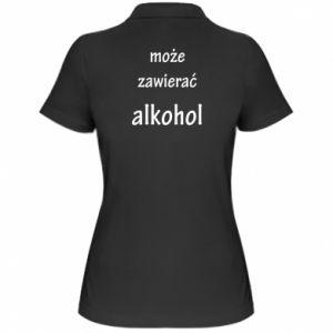 Damska koszulka polo Napis - Może zawierać alkohol